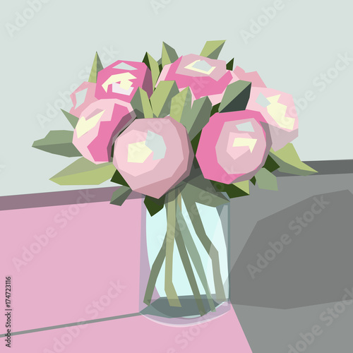 Plakat abstract picture vase with pion flowers