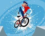 Jump funny biker