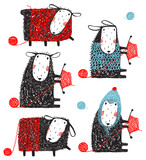 Knitting Crafty Sheep Scribble Cartoon Collection - 174727369