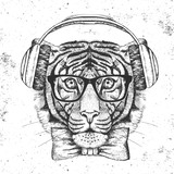 Hipster animal tiger. Hand drawing Muzzle of tiger - 174729917