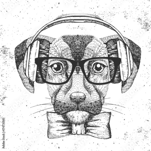 Hipster animal dog. Hand drawing Muzzle of dog