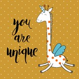 You are unique. Cute Hand Drawn greeting card.