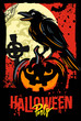 Halloween pumpkin with raven