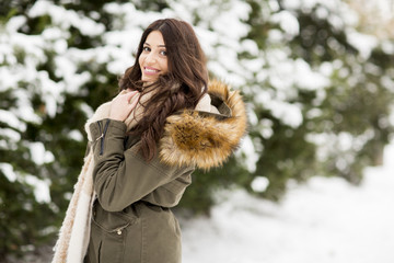 Pretty young woman on a winter day
