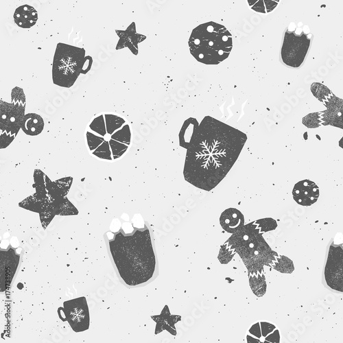 Materiał do szycia Winter seamless patterns with gingerbread cookies, cacao, star, orange. Awesome holiday vector background. Christmas repeating texture for surface design, wallpapers, fabrics, wrapping paper black and