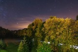 Night landscape with stair trails, forest amd way. - 174739158