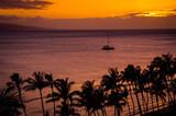 Hawaiian Sunset with Boat - 174739589