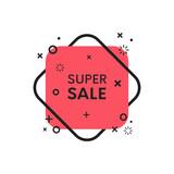 Geometric flat sale discount banner. Trendy shape promo sticker. - 174739790