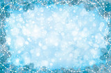 Vector blue  background with fir tree border and decorations. - 174740335