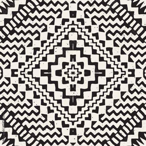 Hand drawn painted seamless pattern. Vector tribal design background. Ethnic motif. Geometric ethnic stripe lines illustration. For art prints, textile, wallpaper, wrapping paper. - 174742310