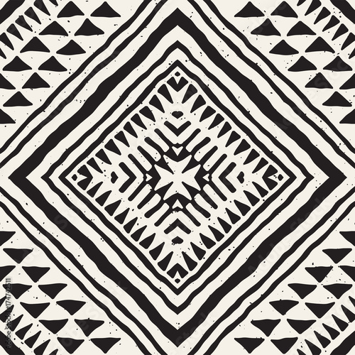 Hand drawn painted seamless pattern. Vector tribal design background. Ethnic motif. Geometric ethnic stripe lines illustration. For art prints, textile, wallpaper, wrapping paper. - 174742511