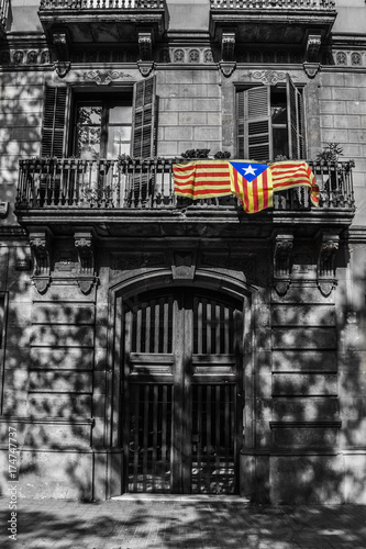 Poster Barcelona Catalan flag in Barcelona