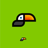 Toucan logo. Tropical bird emblem. Toucan flat icon, isolated on a green background. - 174750914