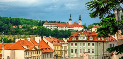 Landscape of the romantic city of Prague under a blue sky Poster
