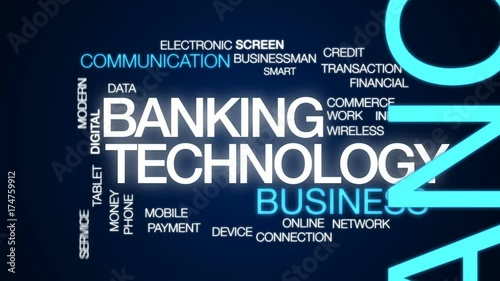 Banking technology animated word cloud, text design animation.