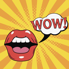 WOW! Mouth. Female Lips with speech bubble. Comics illustration in pop art retro style at sunburst background with dot halftone effect. Vector.
