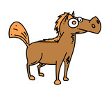 Cartoon horse cartoon hand drawn image. Original colorful artwork, comic childish style drawing.