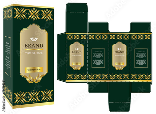 packaging design green and gold luxury box design template and