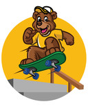 happy bear kid playing skateboard - 174795735