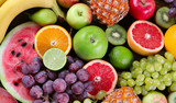 Fruits background. Healthy diet eating concept. Flat lay - 174797953