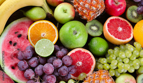 Fruits background. Healthy diet eating concept. Flat lay