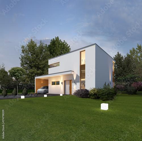 Haus Kubus 1 in der Dämmerung mit Carport und Elektroauto. © entwerfen & planen