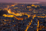 Panoramic view of Athens from the hill Likawitos at sunset, Greece  - 174806573