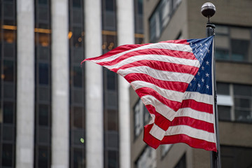 usa flag in new york trump tower building