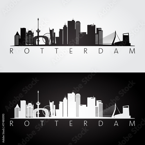 Fotobehang Rotterdam Rotterdam skyline and landmarks silhouette, black and white design, vector illustration.