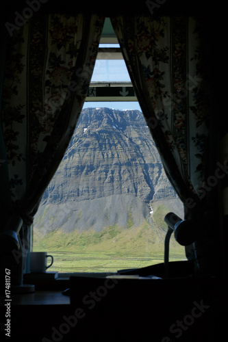 Tuinposter Zwart Window view in Iceland