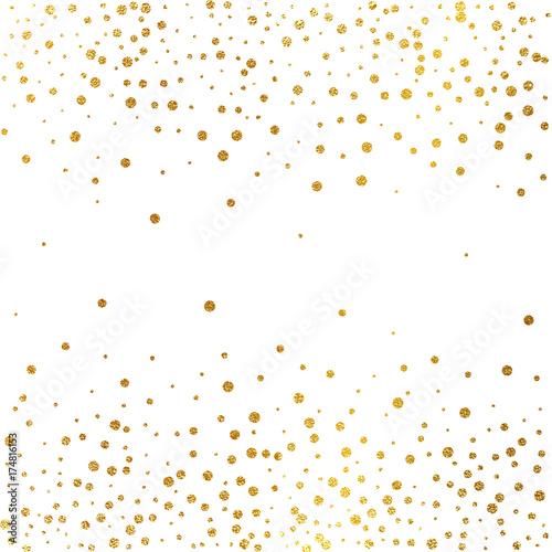 Świąteczna eksplozja konfetti. Tło złoto świecidełka. Złote kropki. Ilustracji wektorowych kropki polka.