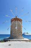 Windmill in the port of Rhodes, Greece - 174816763