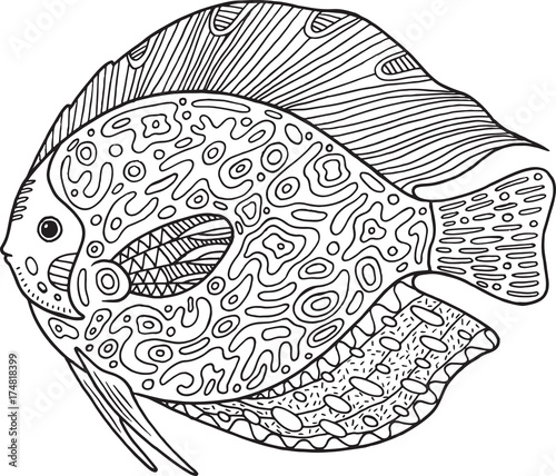 Doodle Zentangle Fish Coloring Page With Animal For Adults