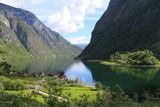 Naeroyfjord idyllic fjord landscape reflection, ship ferry, Norway, scandinavia