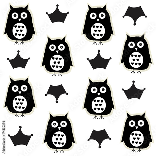 Keuken foto achterwand Uilen cartoon Black white owl and crown baby pattern background
