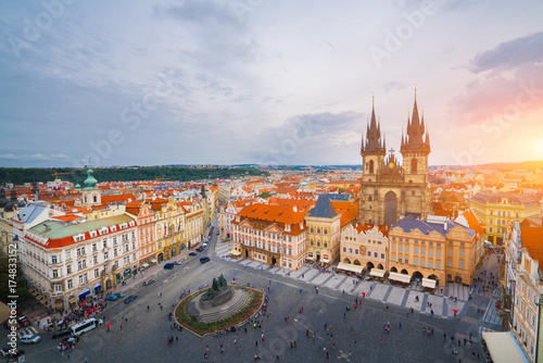 The beautiful landscape of the old town, Prague Castle and Hradcany in Prague, Top view at Czech Republic Poster