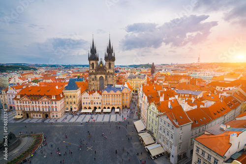 Poster Praag The beautiful landscape of the old town, Prague Castle and Hradcany in Prague, Top view at Czech Republic.