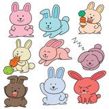 vector set of rabbits - 174836373