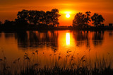 Beautiful sunset over the pond Raszynski, Poland - 174844975