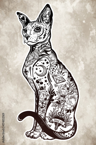 Vintage style cat with body flash art tattoos.