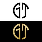 gt initial logo circle shape vector black and gold