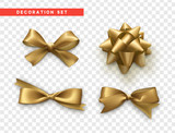 Bows gold realistic design. Isolated gift bows with ribbons. - 174855730