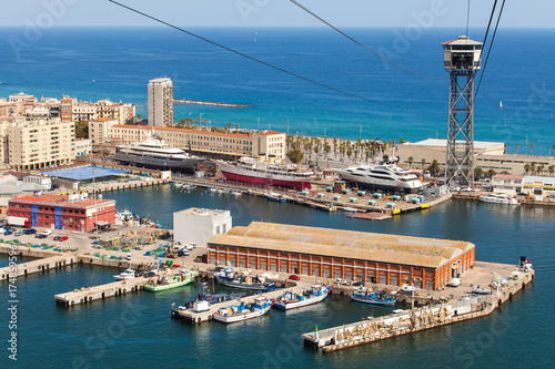Foto op Canvas Barcelona Aerial view of the Harbor district in Barcelona, Spain. Panoramic view coastline