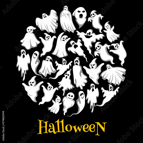 Halloween ghost or holiday spirit round poster