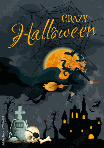Halloween witch night cemetery vector poster