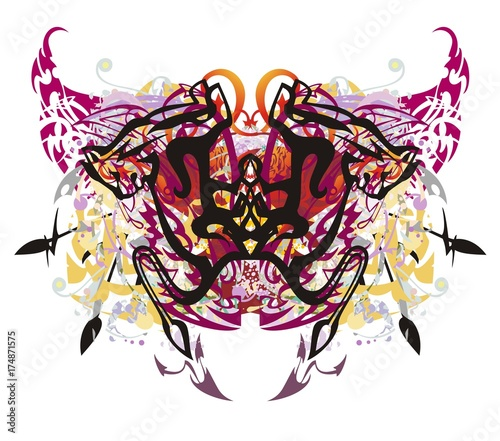 Staande foto Vlinders in Grunge Unusual colorful butterfly splashes in grunge style. Tribal mystical imaginary butterfly formed by dogs, similar to a lion with colorful splashes, linear elements and red hearts inside