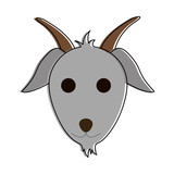 goat animal face cartoon icon image vector illustration design  - 174875757