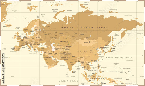 Obraz na płótnie Eurasia Europa Russia China India Indonesia Thailand Map - Vector Illustration