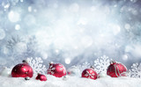 Christmas Card - Red Baubles And Snowflakes With Snowfall - 174882791