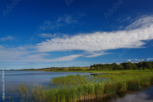 Foto op Canvas Nachtblauw Panoramic view of the smooth surface of the lake with vegetation
